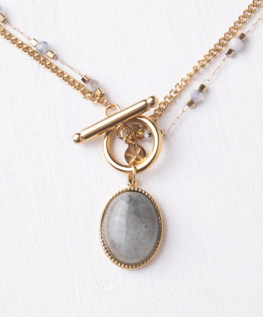 Labradorite Stone Double Chain Gold Necklace- Give Freedom To Girls & Women