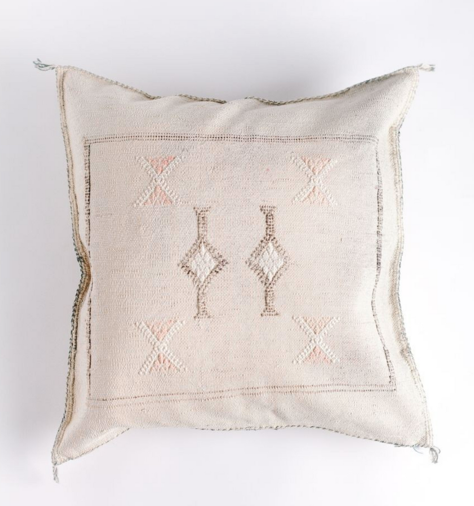 "18"" Hand Spun & Woven Cream Silk Pillow, Fair Trade"