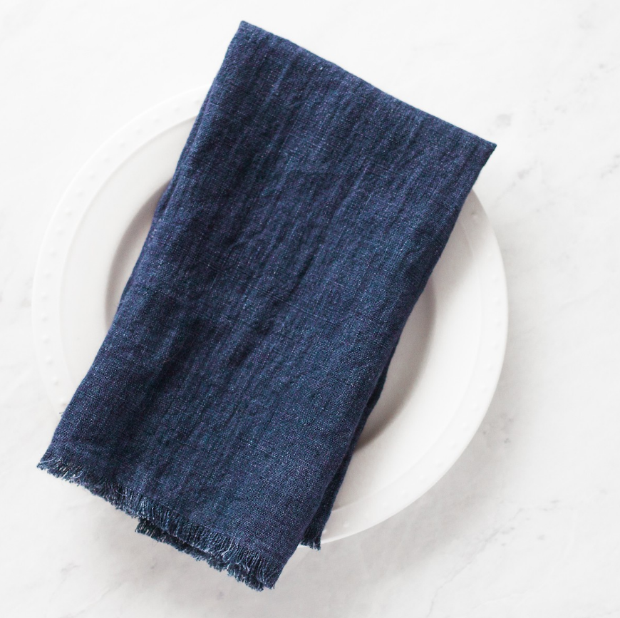 Set of 4 Hand Woven Stone Washed Linen Dinner Napkins- Eco-Friendly, Fair Trade