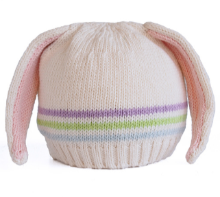 Handmade Knit Pink Baby/ Toddler Bunny Ear Hat with Stripes- Fair Trade