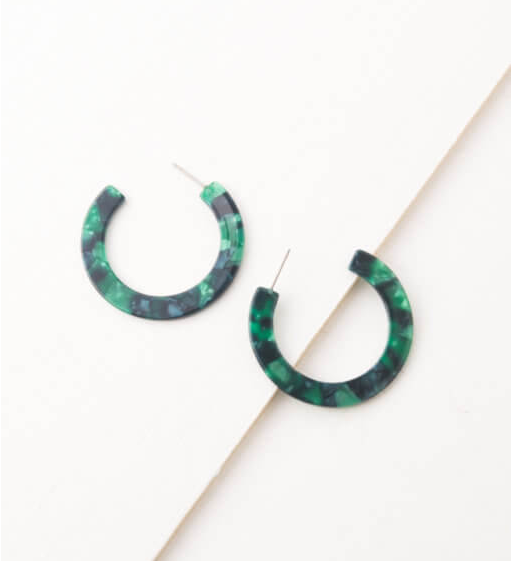 Blue & Green Resin Hoop Earrings, Give freedom to exploited girls & women!