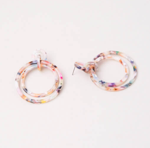 Multi-Colored Resin Dangle Hoop Earrings, Give freedom to exploited girls & women!