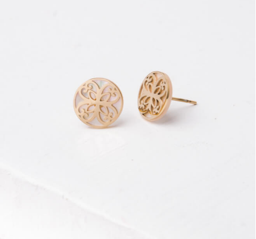 White & Gold Maile Stud Earrings, Give freedom & create careers for exploited girls & women!
