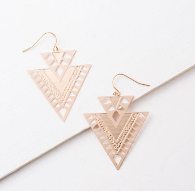 Silver or Gold Geometric Dangle Earrings, Give freedom to exploited girls & women!