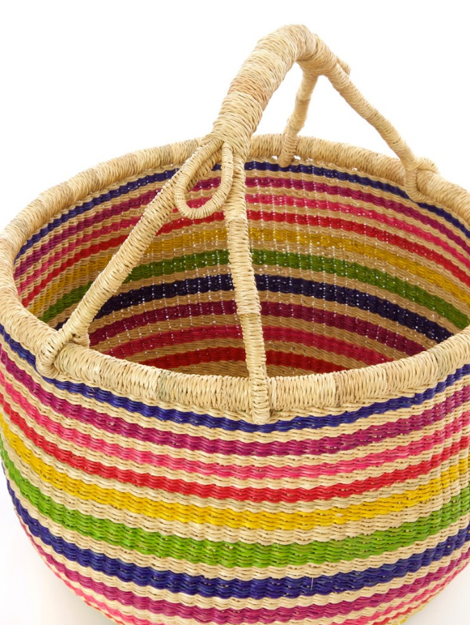 Handwoven Rainbow Bolga Market Basket, Elephant Grass , Fair Trade & Eco-Friendly