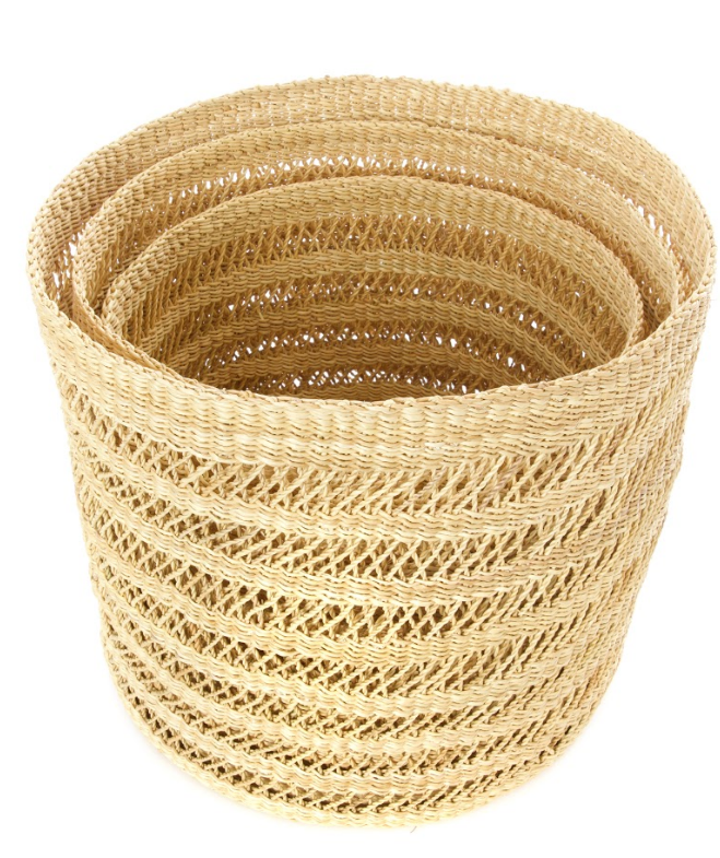 3 Lace Basket Bins, Handwoven- Elephant Grass, Fair Trade, Eco-Friendly