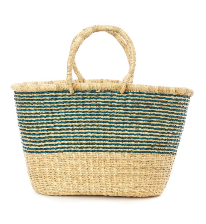 Handwoven Bolga Aqua Striped Tote Basket, Fair Trade & Eco-Friendly