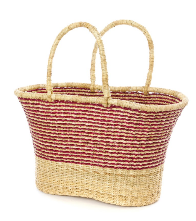 Red Pinstripe Handwoven Bolga Tote Basket, Fair Trade & Eco-Friendly
