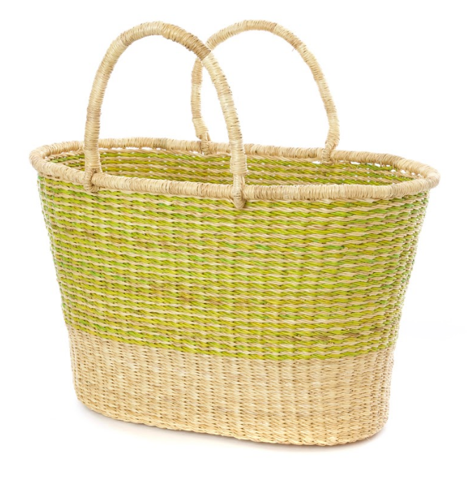 Handwoven Lime Striped Tote Basket, Fair Trade & Eco-Friendly