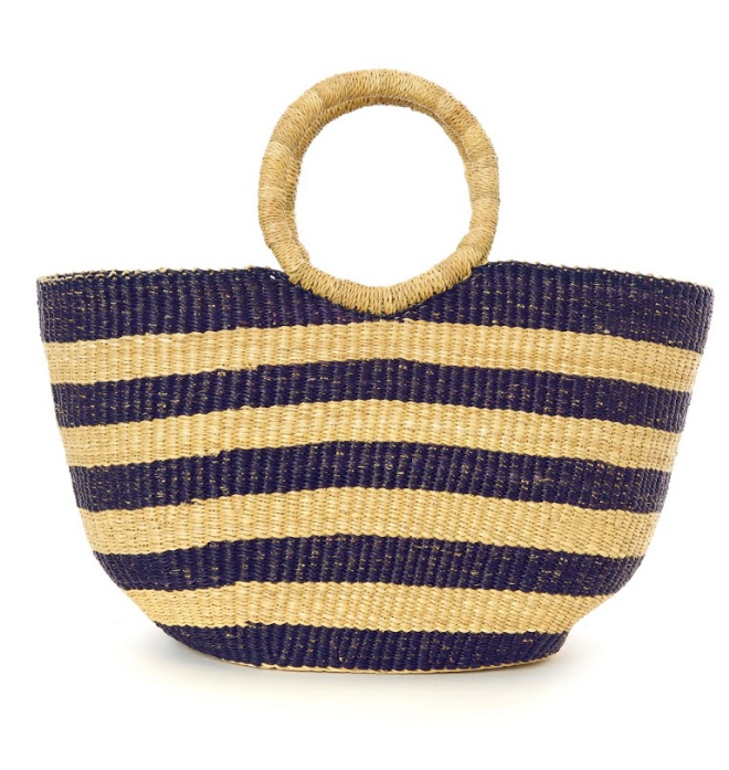 Handwoven Navy Blue Striped Tote Basket Bag, Fair Trade & Eco-Friendly