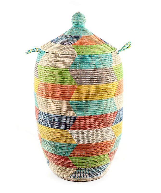 Tall Handwoven Multi-Colored Storage Basket, Fair Trade & Eco-Friendly