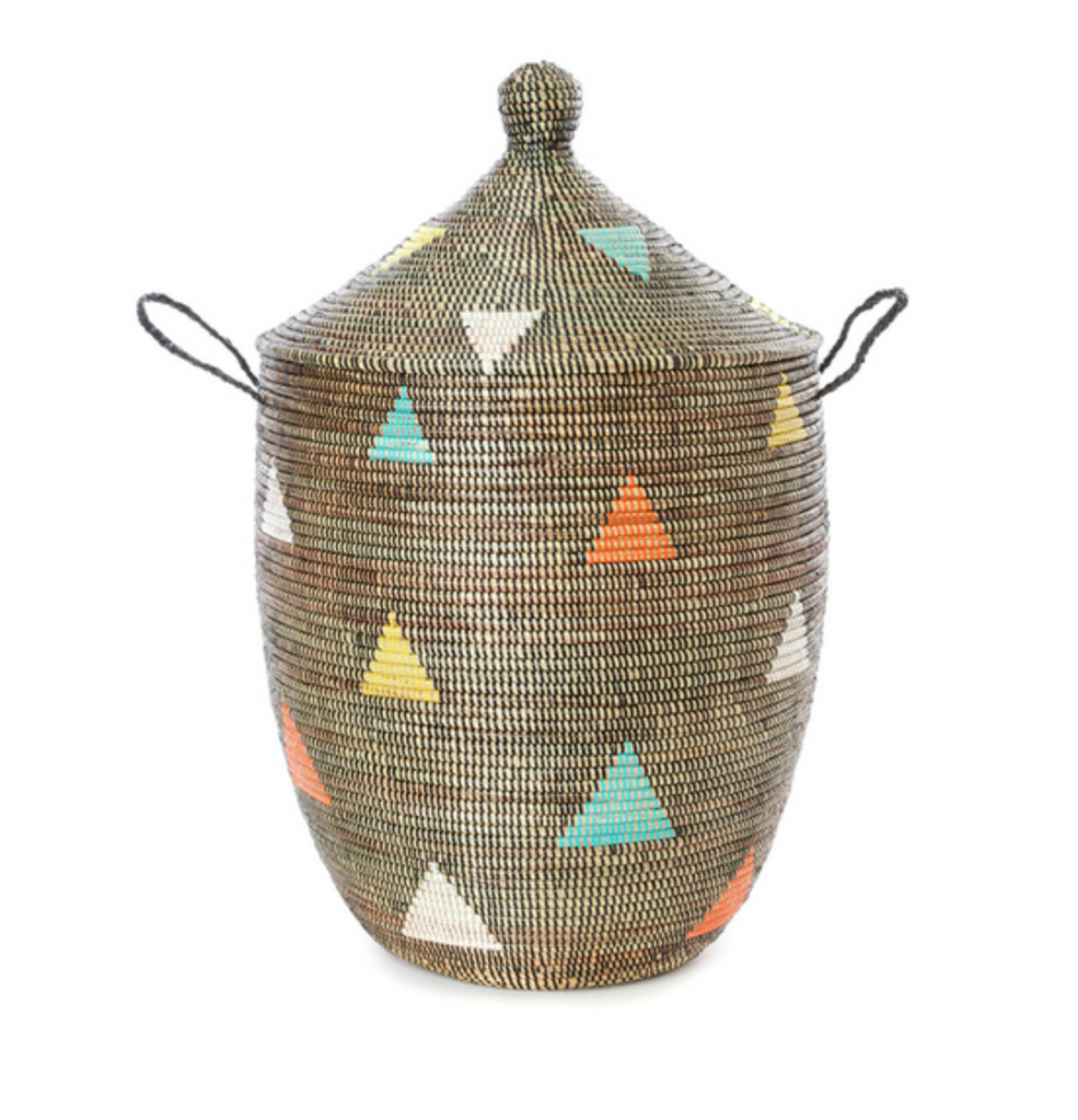 Large Handwoven Cattail Storage Basket with Triangle Design, Fair Trade & Eco-Friendly
