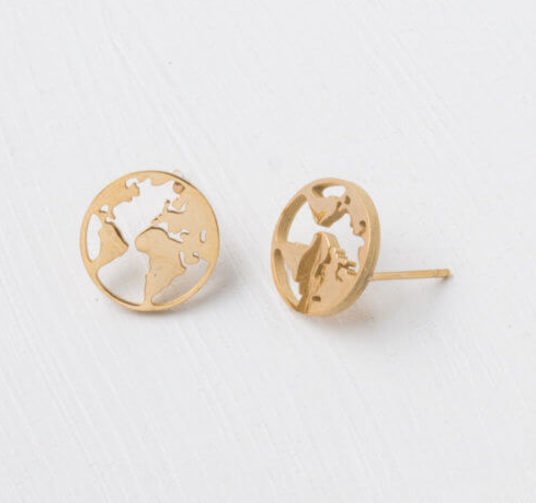 Gold World Stud Earrings, Give freedom & create careers for exploited girls & women!