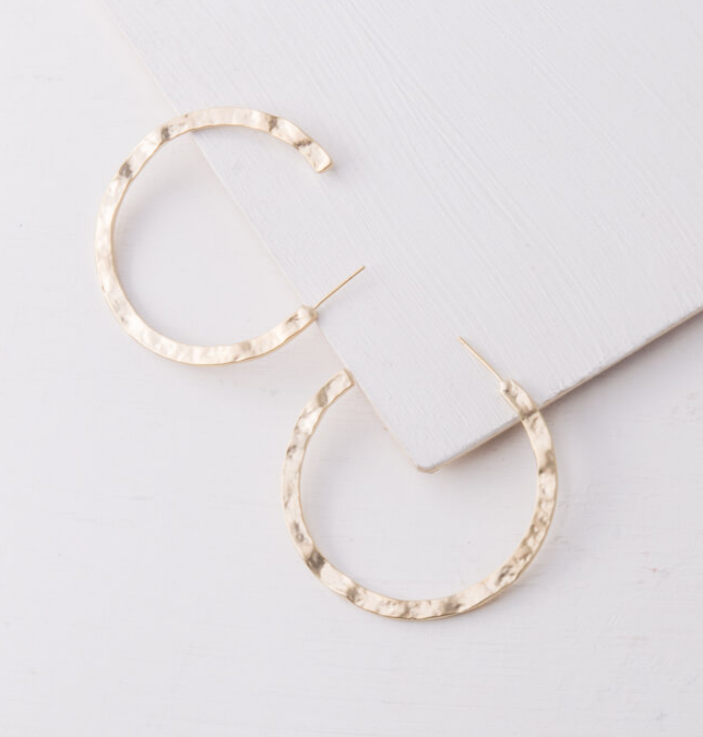 Gold Hammered Hoop Earrings, Give freedom & create careers for exploited girls & women!