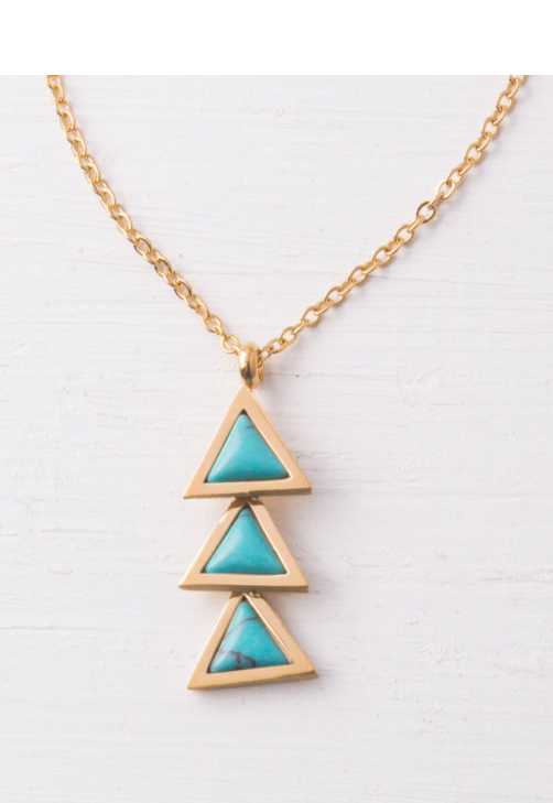 Turquoise Triple Triangle Gold Pendant Necklace, Give freedom & create careers for exploited girls & women!
