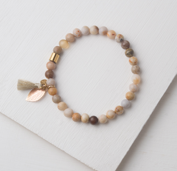 Earth-Tone Natural Gemstone & Tassel Leaf Bracelet, Gives freedom to exploited girls & women!