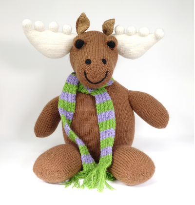"Hand Knit Large 20"" Moose Stuffed Animal, Fair Trade"