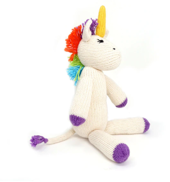 Hand Knit Unicorn Stuffed Animal, Fair Trade for Artisans