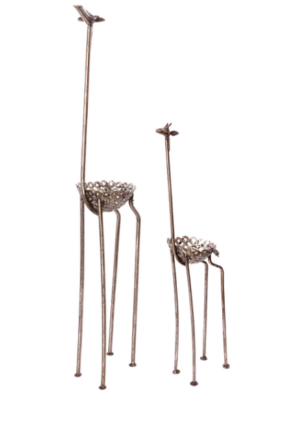 Recycled metal large outdoor giraffe plant holders, Fair Trade from Kenya