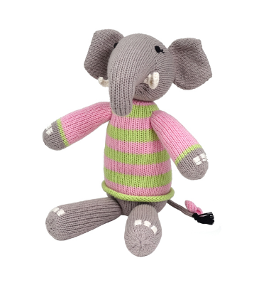 Hand Knit Cotton Elephant Stuffed Animal  - Support Fair Trade for Artisans