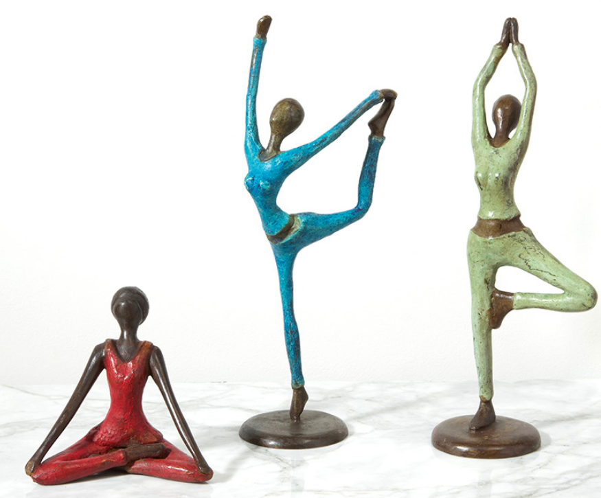 Woman doing Yoga Pose Bronze Sculpture, Fair Trade