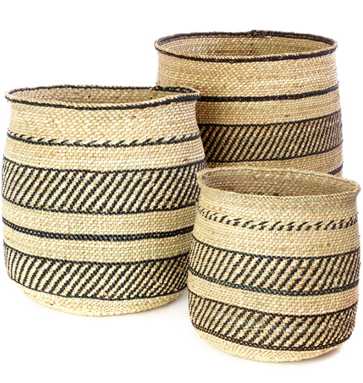 Handwoven Natural Grass Storage Baskets, Black Accents, Fair Trade from Tanzania