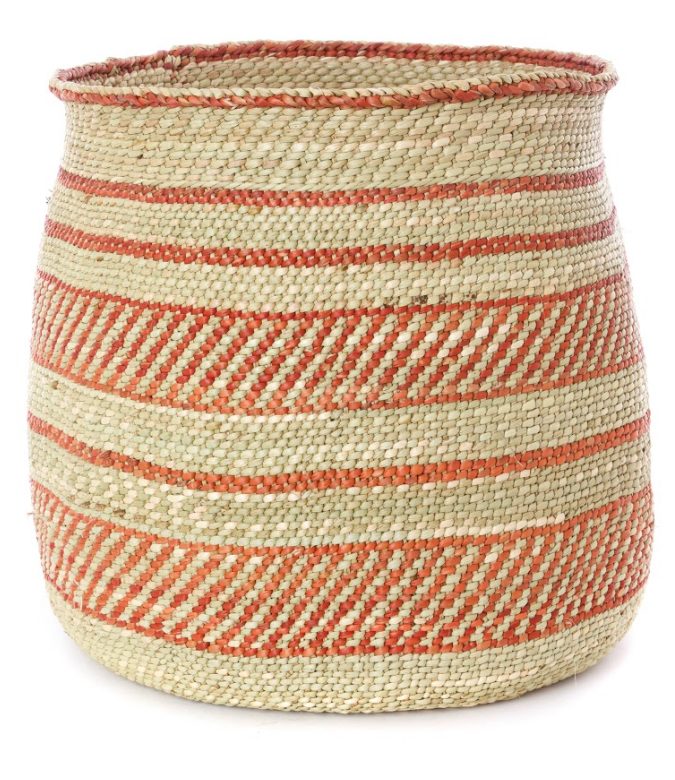 Handwoven Natural Grass Storage Baskets, Rust/Orange Accents, Fair Trade from Tanzania