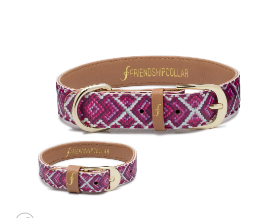 Pedigree Princess- Friendship Vegan Dog Collar and matching Bracelet - Feeds 4 shelter pups! - Give Back Goods