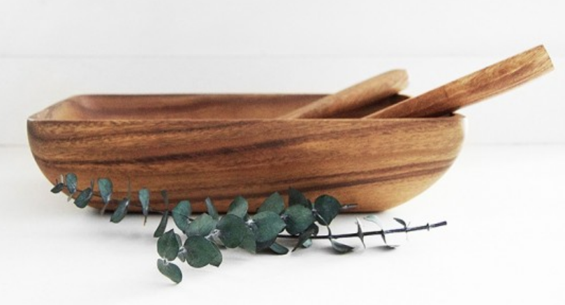 Acacia Wood Rectangle Salad Bowl Set with Salad Servers, Fair Trade & Sustainably Harvested - Give Back Goods