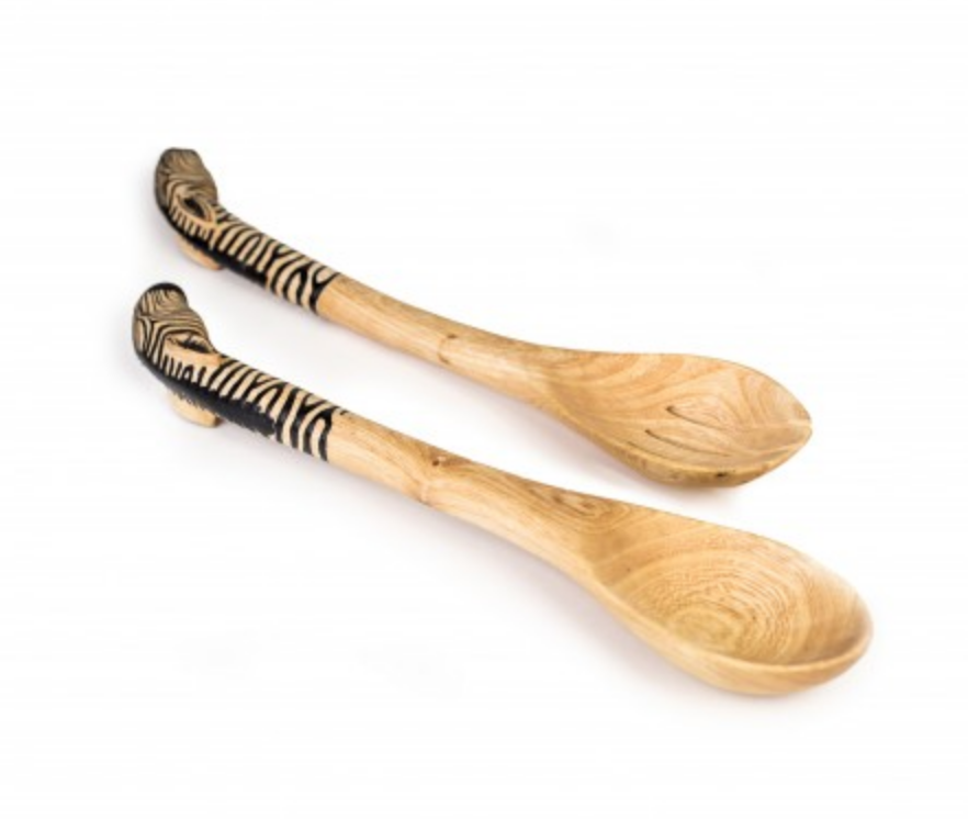 Hand Carved Wooden Zebra Salad Servers- Fair Trade - 10% goes to help animal conservation in Africa! - Give Back Goods