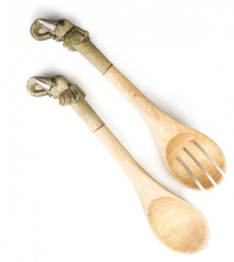 Hand crafted Elephant Salad Servers- Fair Trade - 10% goes to help animal conservation in Africa! - Give Back Goods