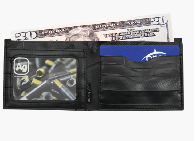 Upcycled Wallet- Truck Tire Tube -Eco-Friendly - Made in the USA - Saves Landfill Space! - Give Back Goods