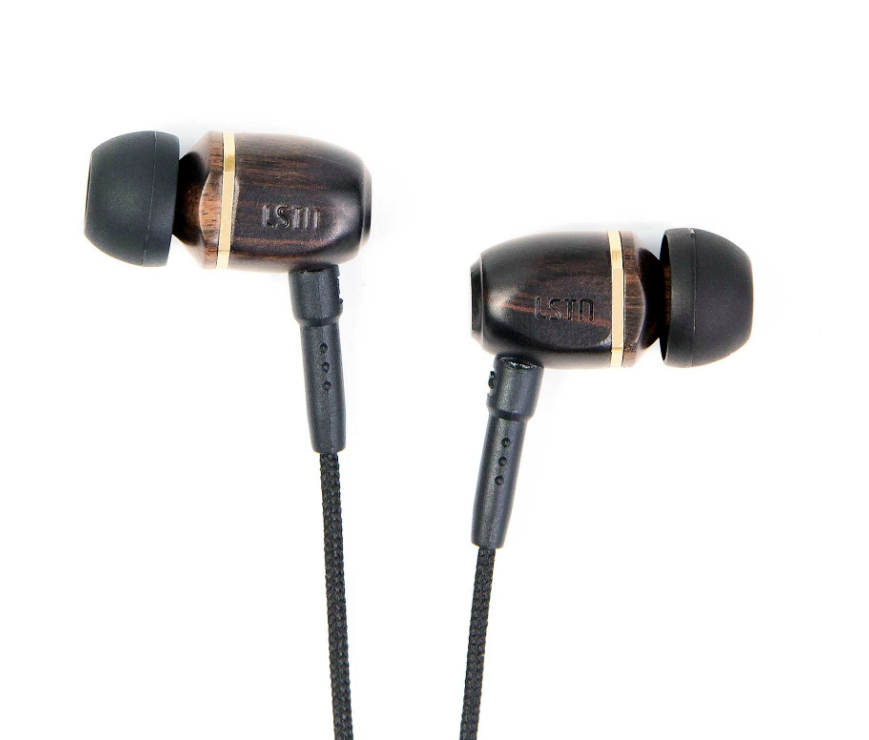 Wood Bowery Wired Earbuds- Cherry-Zebra-Ebony - Gives hearing aids to people in need - Give Back Goods