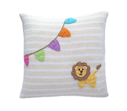 Baby Lion and Flags Pillow - Baby /Child- Handmade- Support Fair Trade for Artisans - Give Back Goods