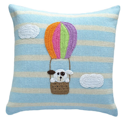 Dog in Hot Air Balloon Baby Pillow, Handmade, Fair Trade - Give Back Goods
