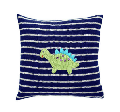 Dinosaur Baby Pillow - (Pink or Navy) - Handmade- Support Fair Trade for Artisans - Give Back Goods