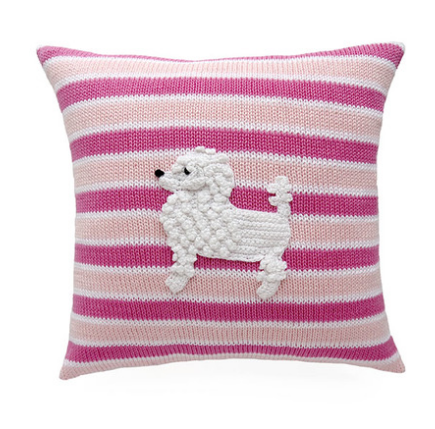 Pink French Poodle Striped Pillow,  Baby or Child, Handmade, Support Fair Trade