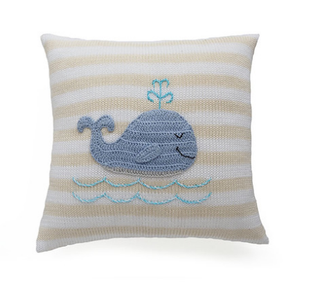 Striped Whale Pillow- Baby /Child - Handmade- Support Fair Trade for Artisans - Give Back Goods