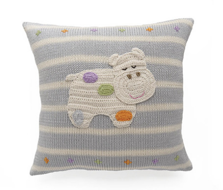 Polka Dot Hippo Striped Baby Pillow - Handmade- Support Fair Trade for Artisans - Give Back Goods