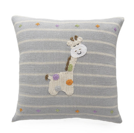 Embroidered Giraffe Baby Striped Pillow, Handmade, Fair Trade - Give Back Goods