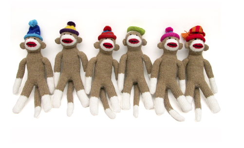 Large Sock Monkey Stuffed Animal- Handmade- Support Fair Trade for Artisans - Give Back Goods