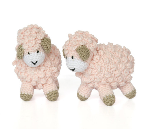 Set of Two Small Handmade Crochet Sheep-  (blue, ecru, pink, white)- Support Fair Trade for Artisans - Give Back Goods
