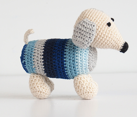 Set of 2- Hand Crocheted Dachshund Dogs (blues or pinks) Support Fair Trade for Artisans - Give Back Goods