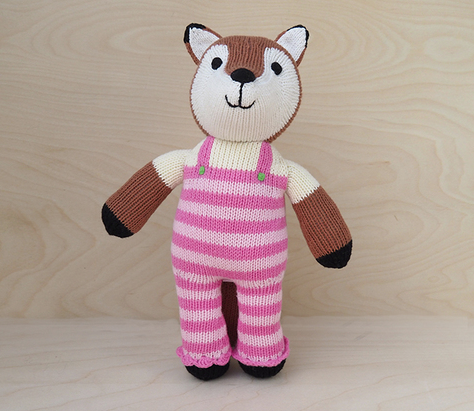 Fox in Pink Overalls- Handmade Stuffed Animal - Support Fair Trade for Artisans - Give Back Goods