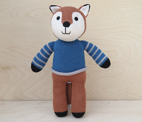 Copy of Fox in Blue Sweater- Handmade Stuffed Animal - Support Fair Trade for Artisans - Give Back Goods