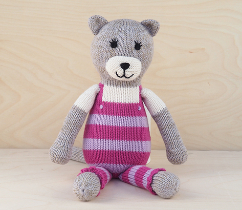 Cali The Cat in Pink Overalls Hand Knit Stuffed Animal  - Support Fair Trade for Artisans - Give Back Goods