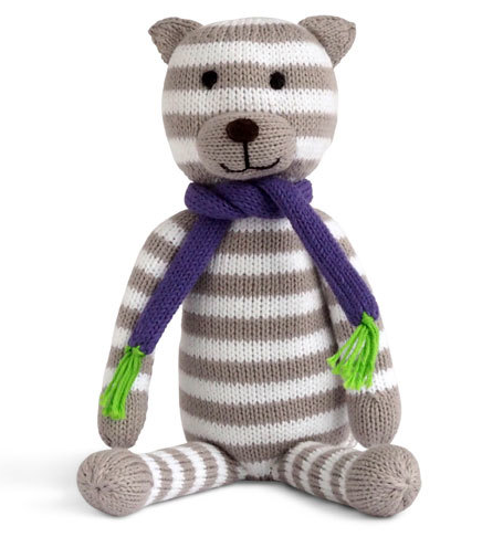 Stripes The Sitting Cat  - Hand Knit Stuffed Animal  - Support Fair Trade for Artisans - Give Back Goods