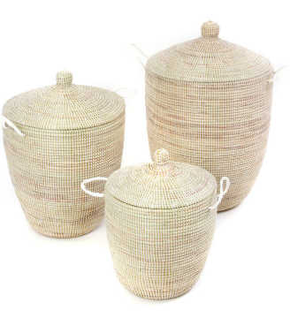 Set of Three Handwoven Cattail White Hamper Baskets Fair Trade - Give Back Goods