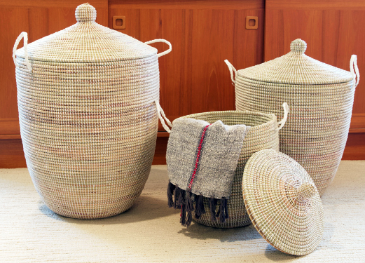 Set of Three Handmade White Hampers/ Baskets- Fair Trade, Educates Artisans- Eco-Friendly - Give Back Goods