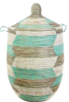 Prayer Mat Hamper Storage Basket, Fair Trade, Eco Friendly, Aqua, Silver and White - Give Back Goods